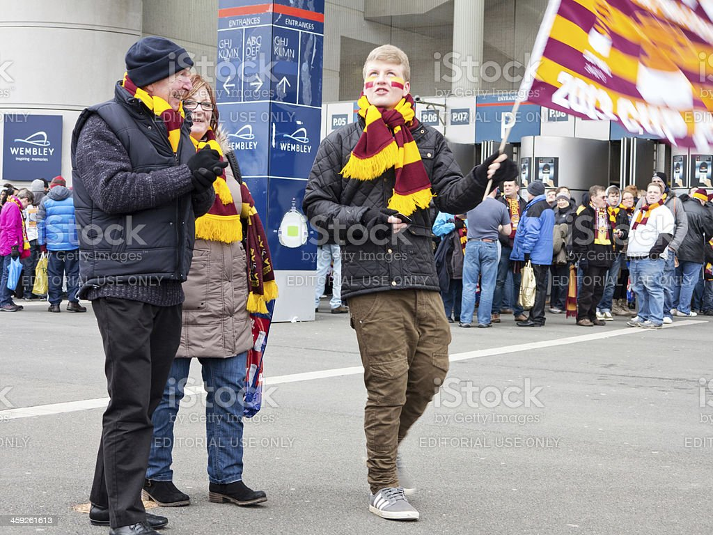 Football supporter waving flag stock photo