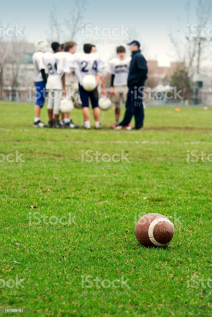 Football Team and Coach royalty-free stock photo