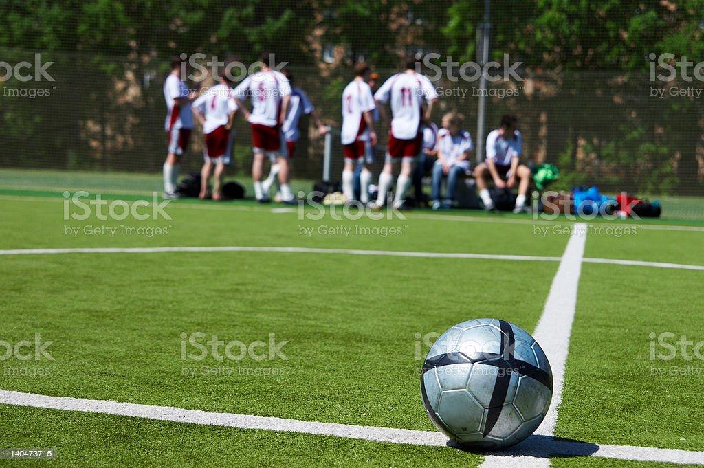 football team, ball on a line royalty-free stock photo