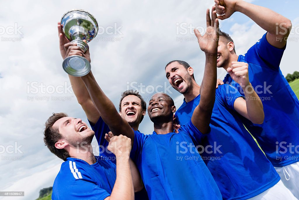 Football team celebrating a victory stock photo