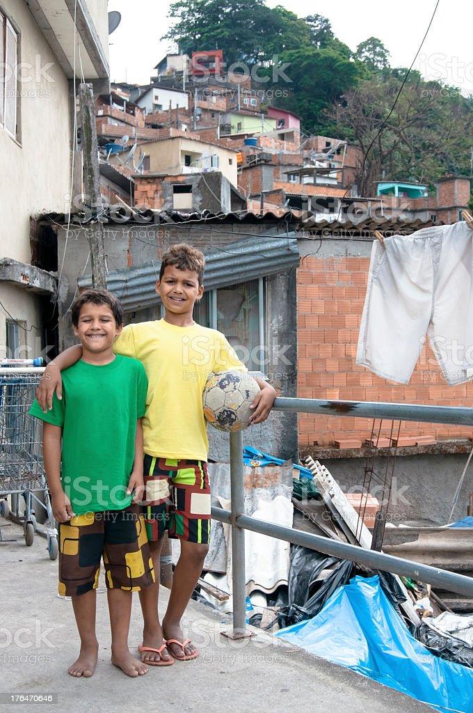 Football Team Mates in a brazilian slum, Rio de Janeiro stock photo