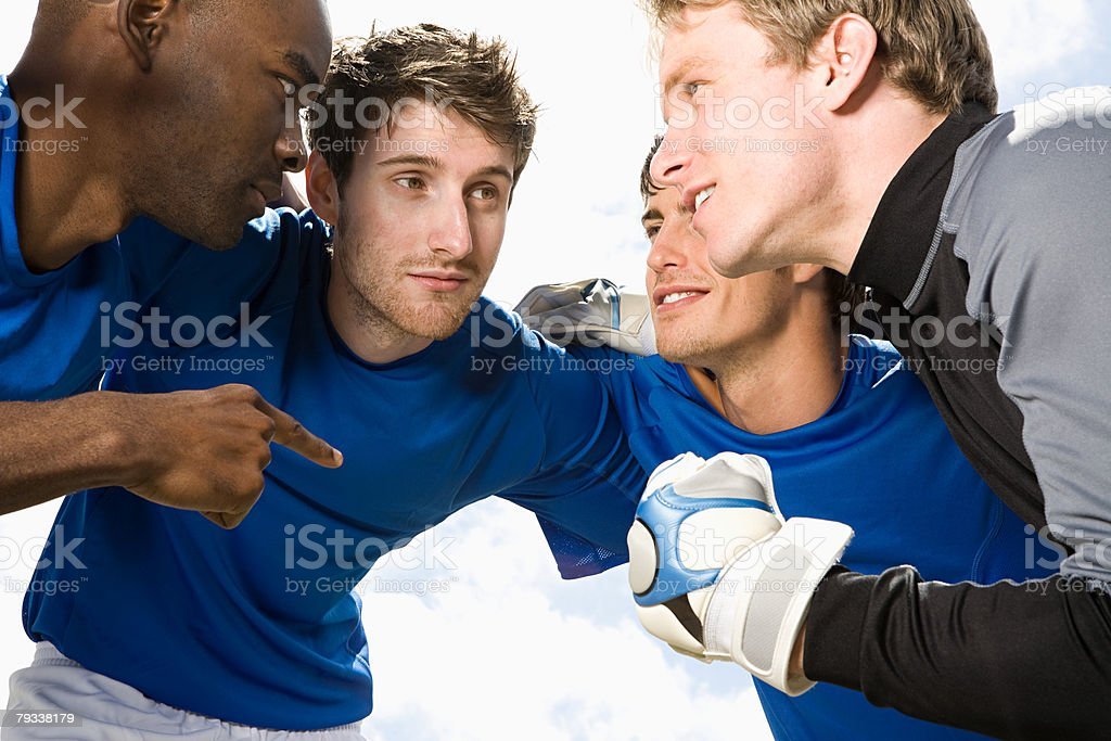 Football team talking stock photo