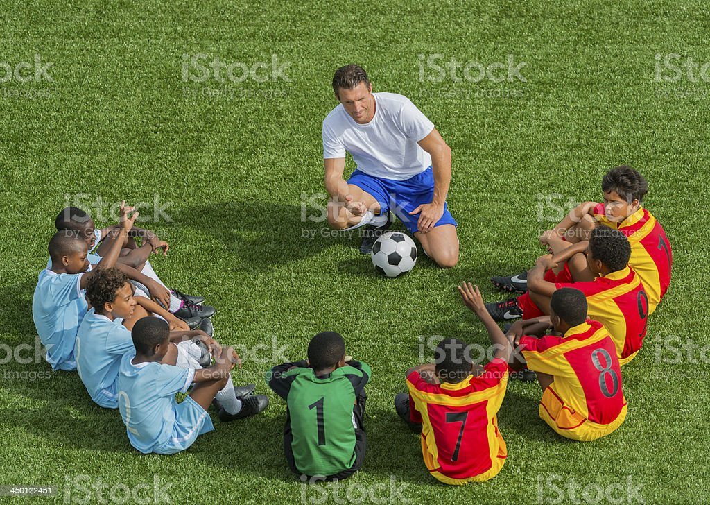 Football Team With Coach stock photo