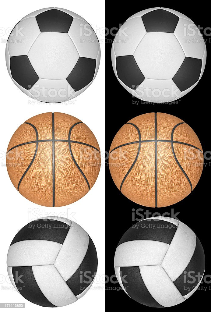 Football, volleyball and basketball stock photo