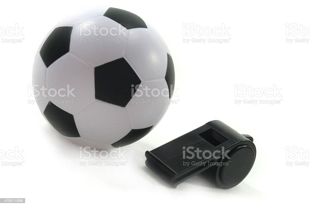 Football with black whistle stock photo