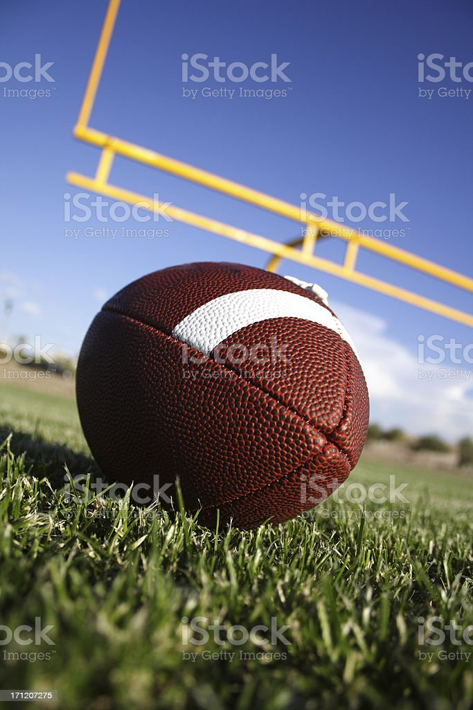 Football with fieldgoal on the background royalty-free stock photo