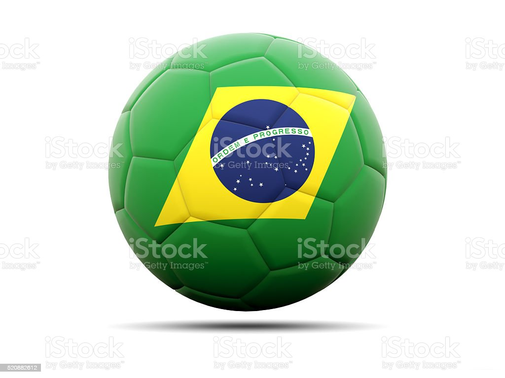 Football with flag of brazil stock photo