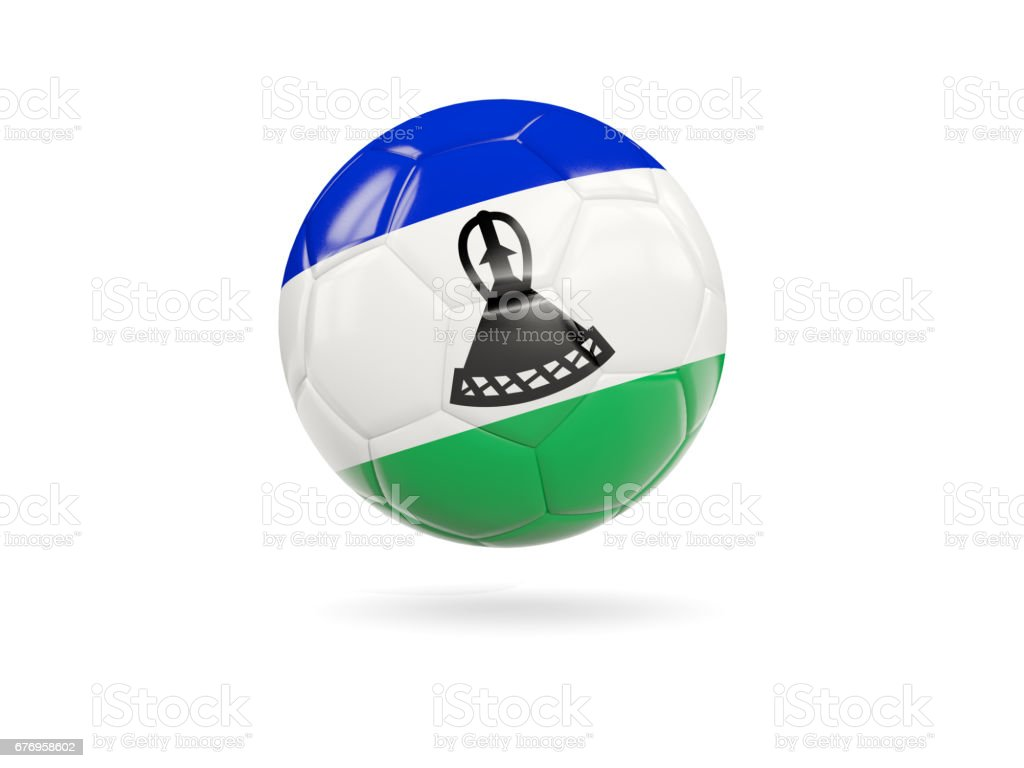 Football with flag of lesotho vector art illustration