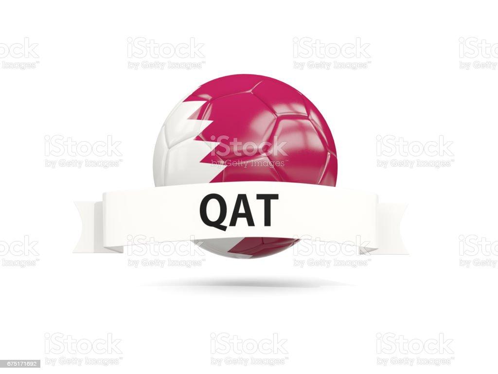 Football with flag of qatar stock photo