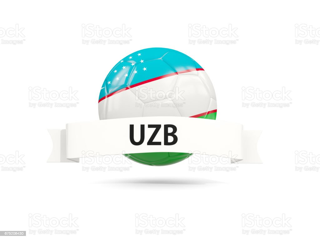 Football with flag of uzbekistan stock photo