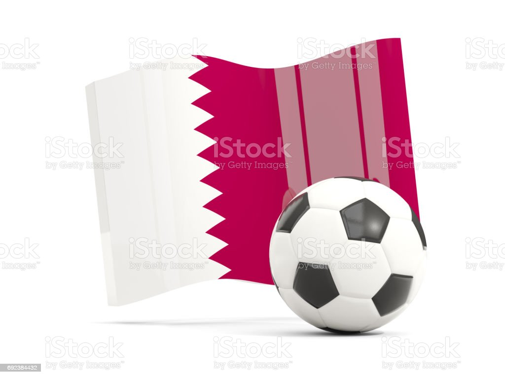Football with waving flag of qatar isolated on white stock photo