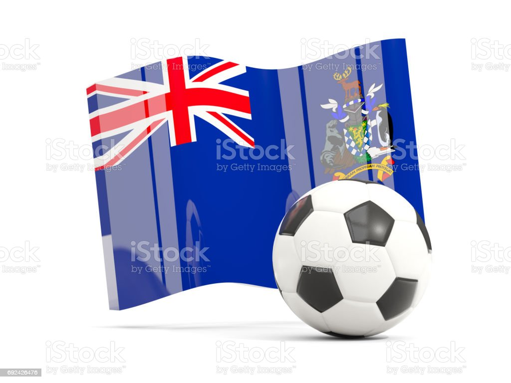 Football with waving flag of south georgia and the south sandwich islands isolated on white stock photo