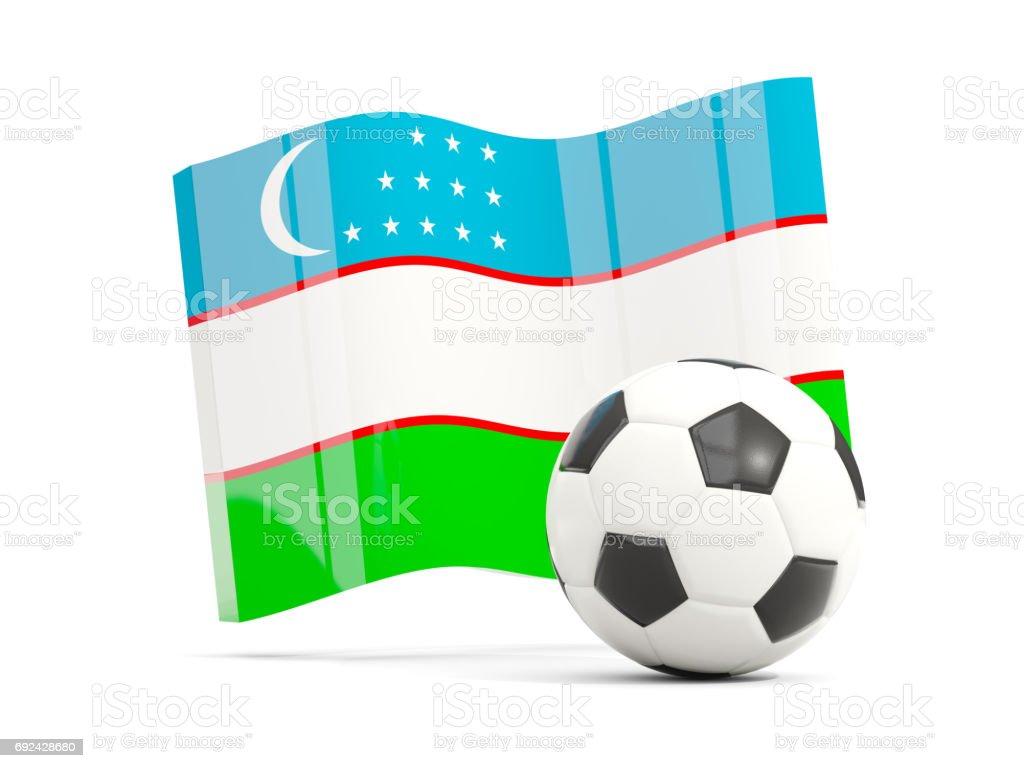 Football with waving flag of uzbekistan isolated on white stock photo