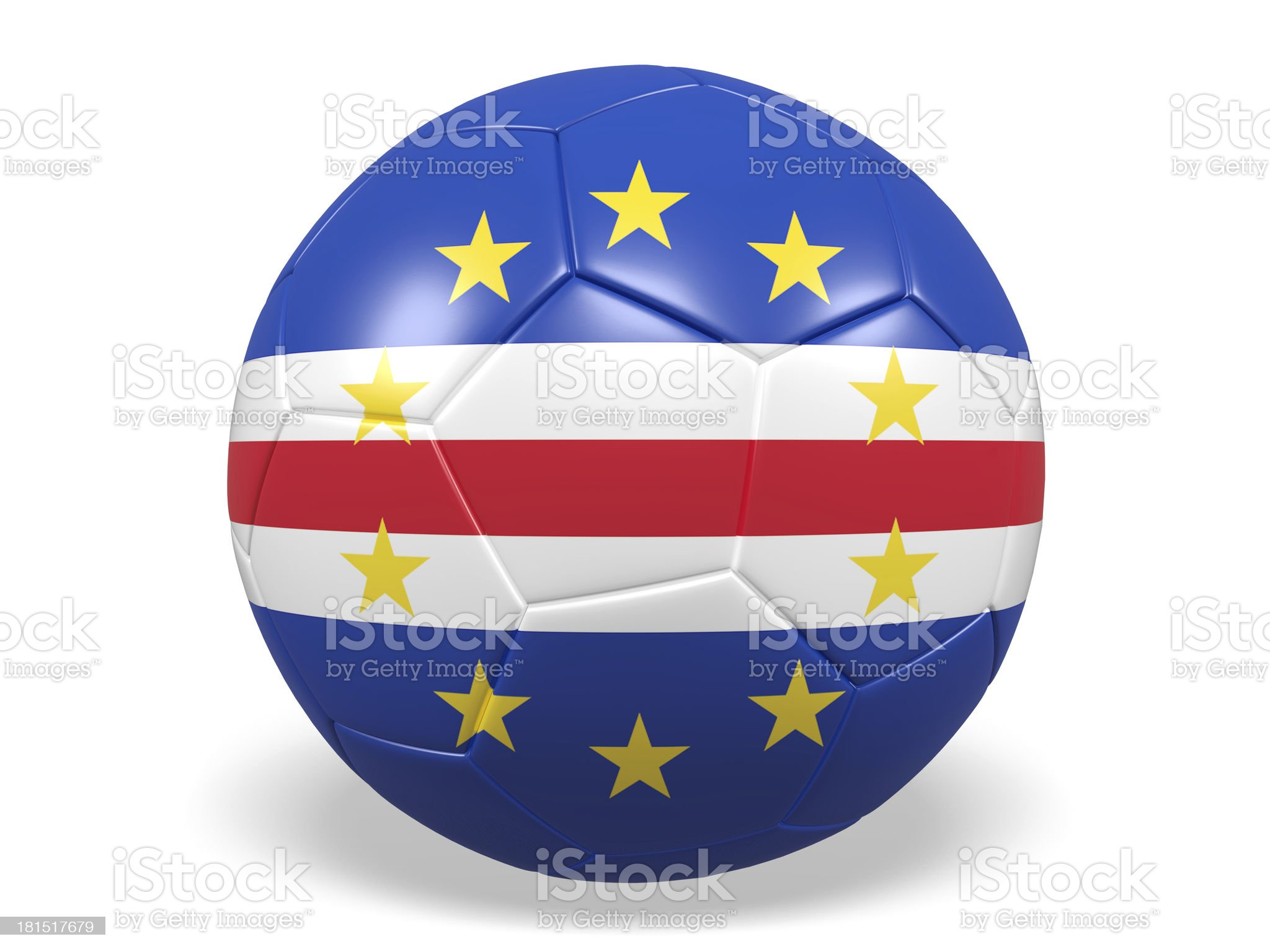 Football/soccer ball with a Cape Verde flag. royalty-free stock photo