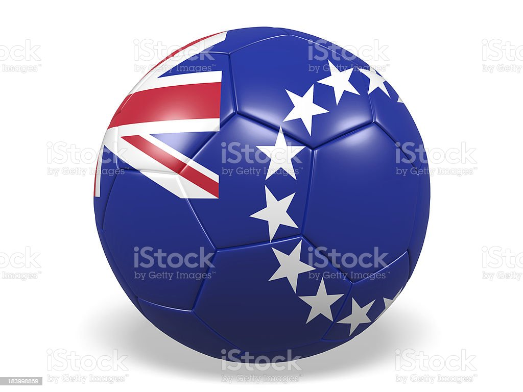 Football/soccer ball with a Cook Islands flag. royalty-free stock photo