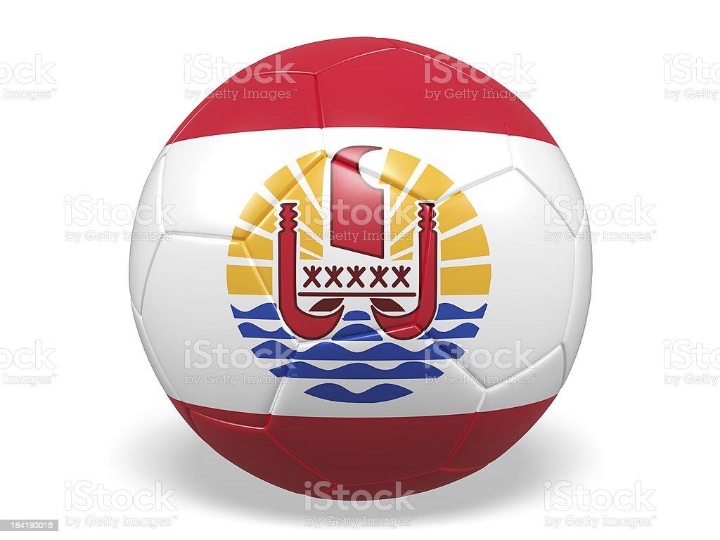 Football/soccer ball with a Tahiti flag. stock photo