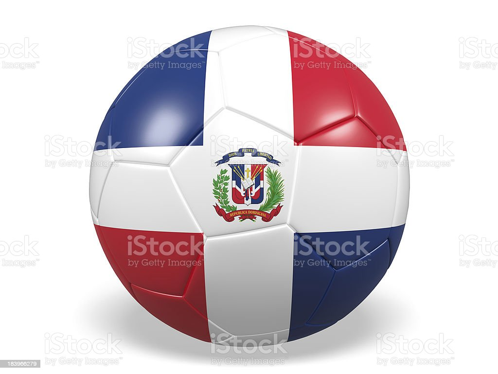 Football/soccer ball with a The Dominican Republic flag. royalty-free stock photo
