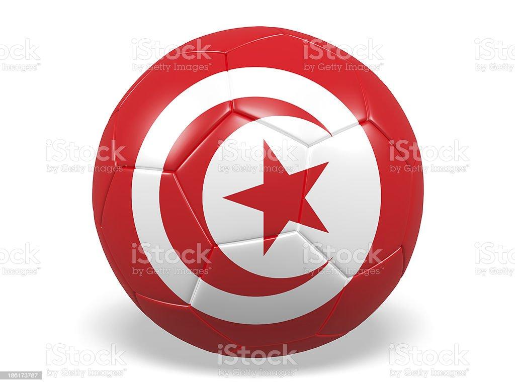 Football/soccer ball with a Tunisia flag. royalty-free stock photo