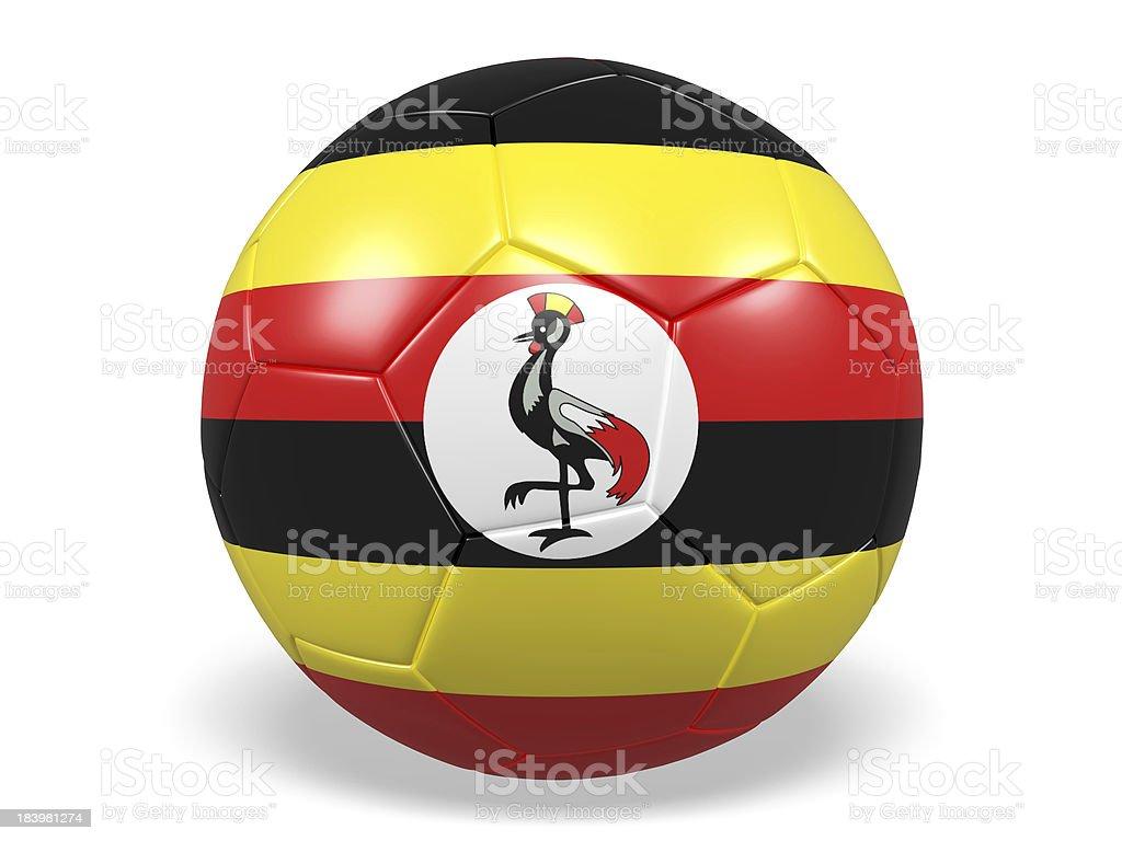 Football/soccer ball with a Uganda flag. royalty-free stock photo