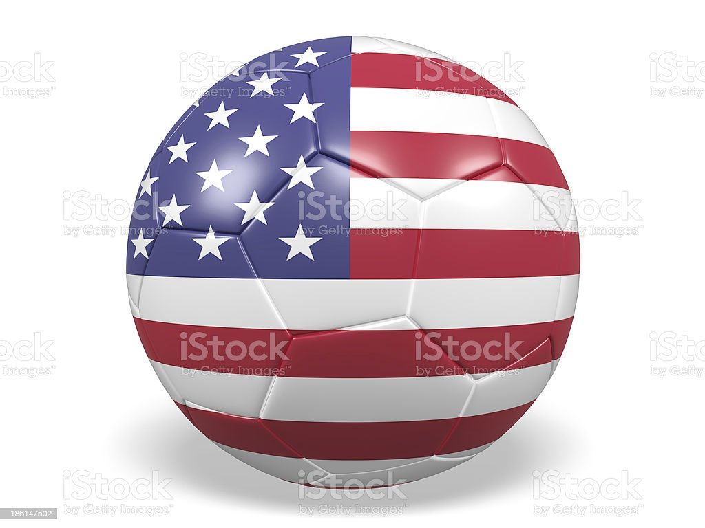 Football/soccer ball with a United States flag. royalty-free stock photo