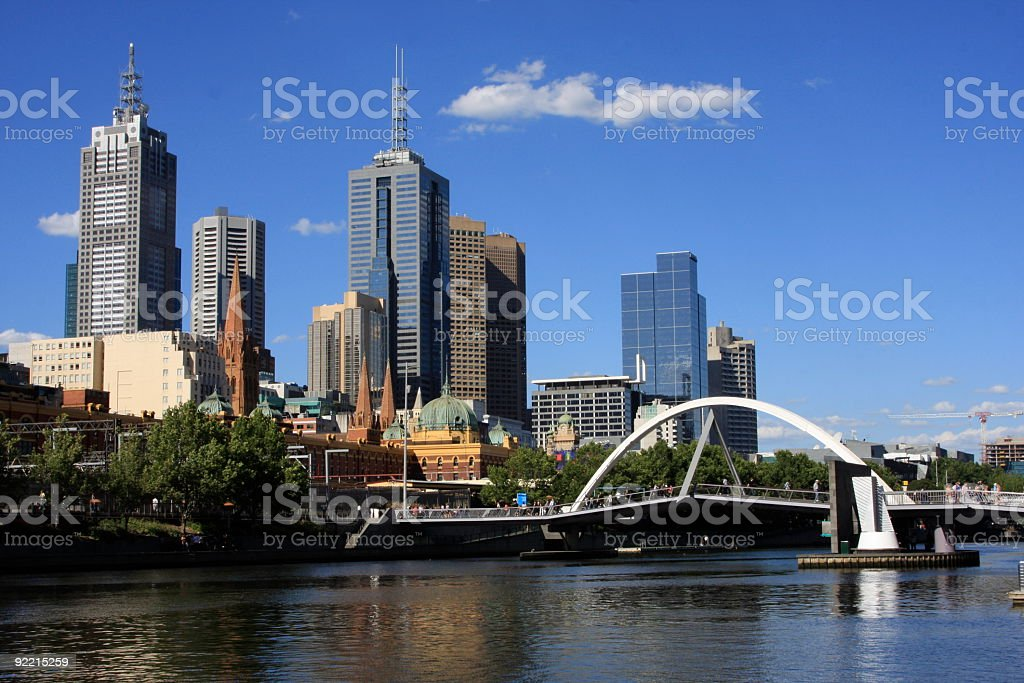 Footbridge across Yarra River to Melbourne stock photo