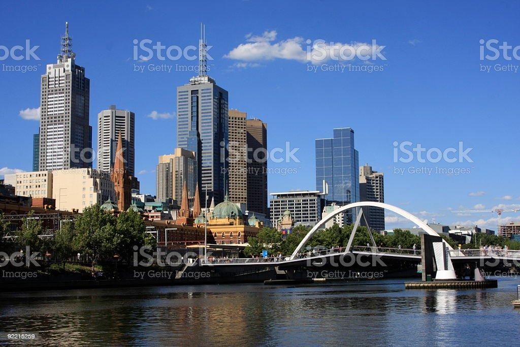 Footbridge across Yarra River to Melbourne stock photo