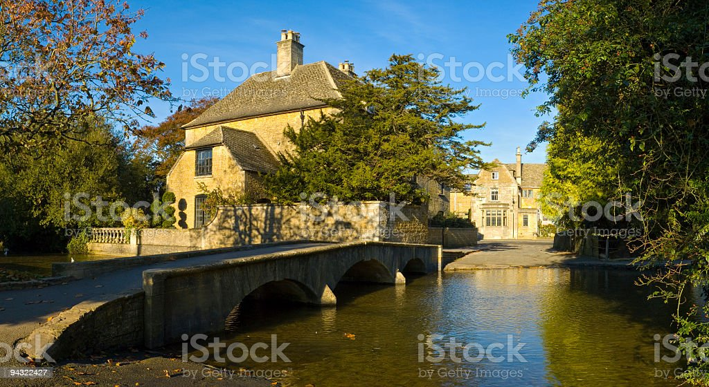 Footbridge and ford royalty-free stock photo