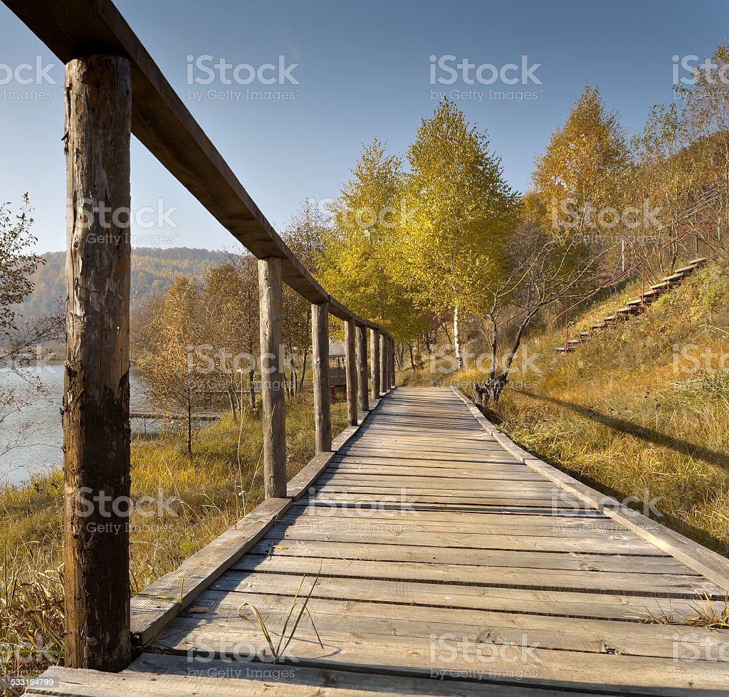 Footbridge and rail.. stock photo