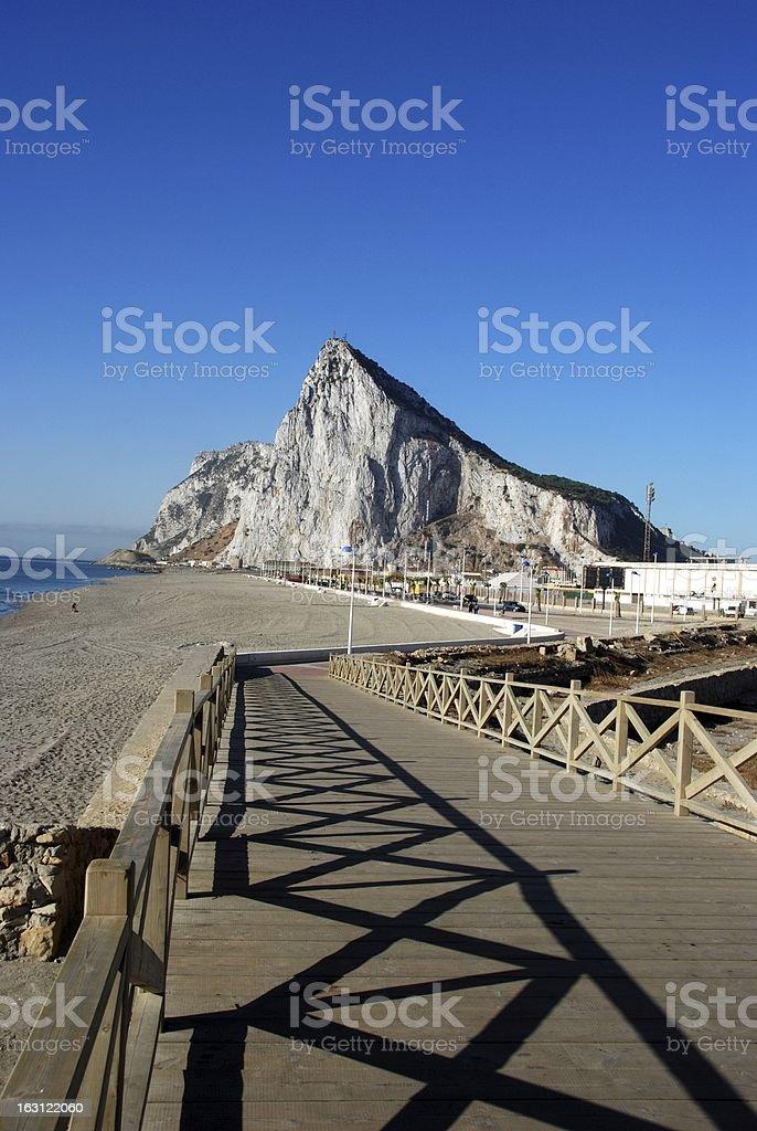 Footbridge and Rock of Gibraltar. stock photo