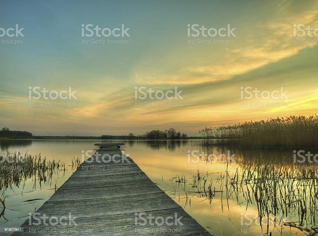 Footbridge at the dusk royalty-free stock photo