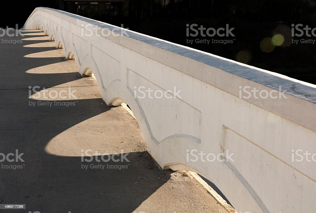 Footbridge, Ballona Lagoon, Marina del Rey, California stock photo