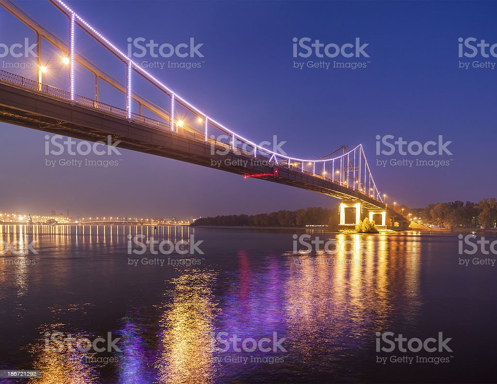 Footbridge in autumn Kiev stock photo