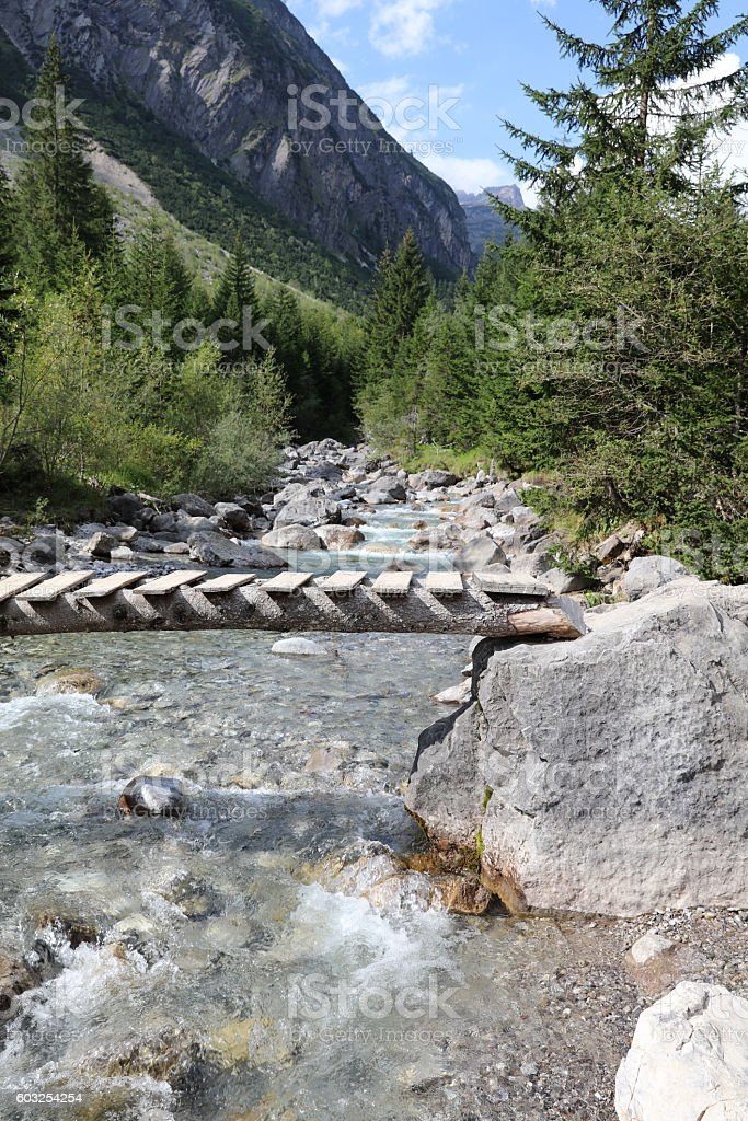 Footbridge in Lech Valley. Tirol. Austria stock photo