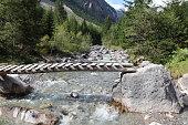 Footbridge in Lech Valley. Tirol. Austria