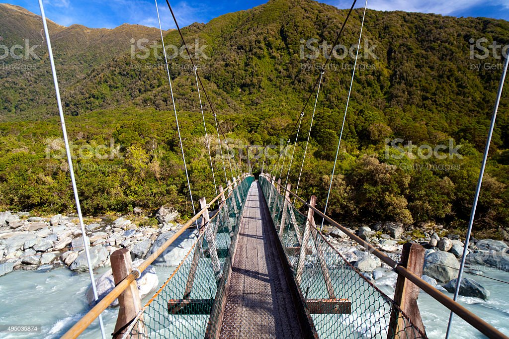 Footbridge Near Franz Josef Glacier, New Zealand stock photo