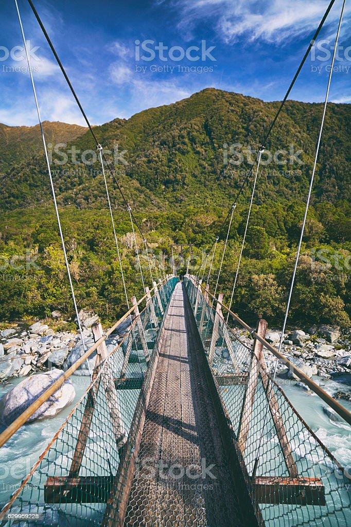 Footbridge Near Franz Josef Glacier, New Zealand stock photo