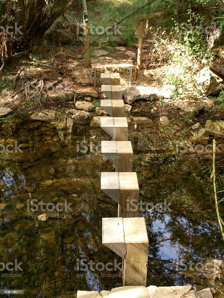 Footbridge near Querenca royalty-free stock photo