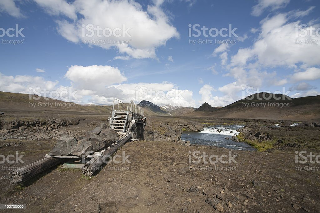 Footbridge over a river in Iceland royalty-free stock photo