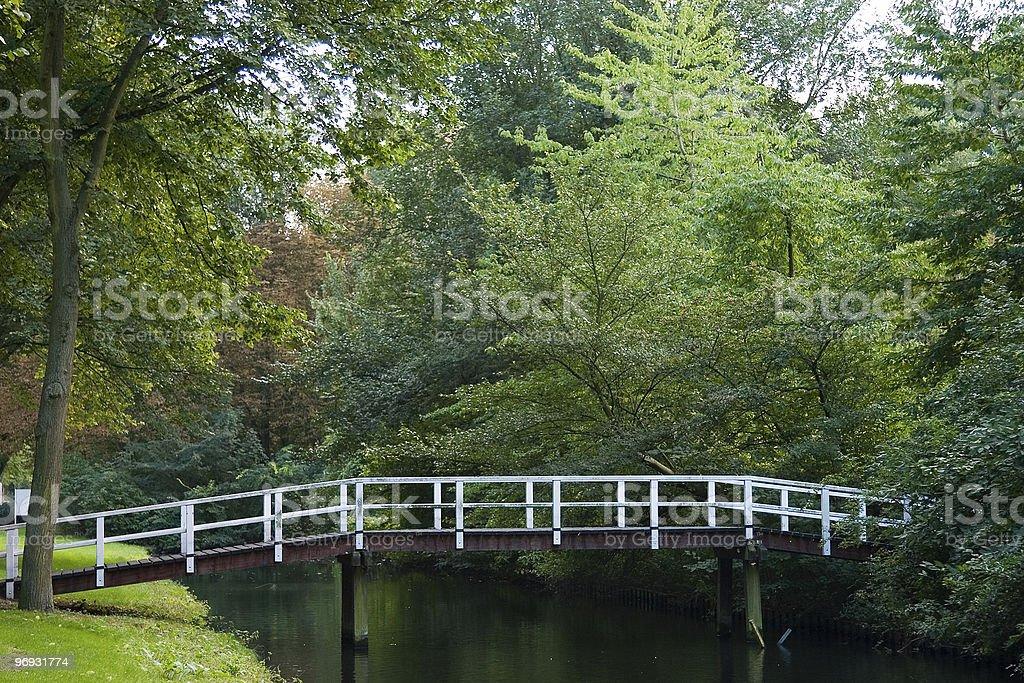 Footbridge over canal stock photo