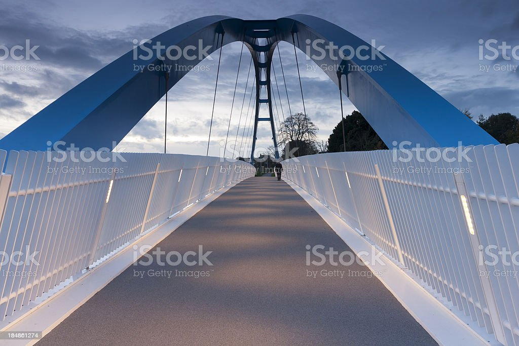 Footbridge over M5 motorway at Exeter stock photo