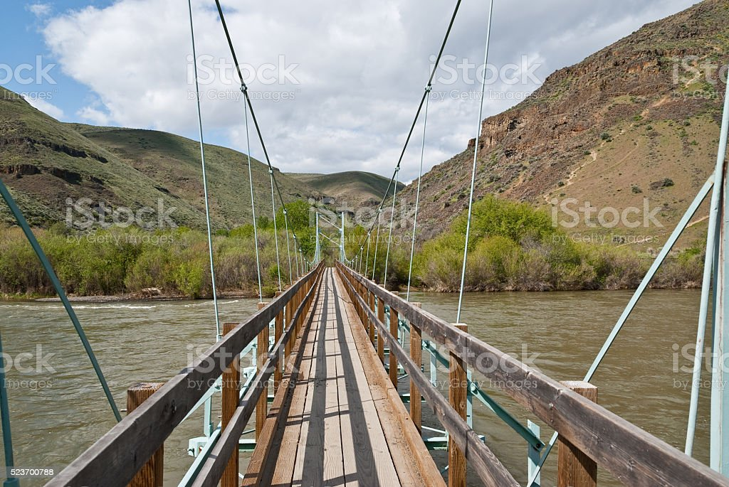 Footbridge Over the Yakima River stock photo