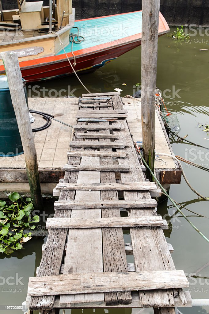 Footbridge to Marina stock photo