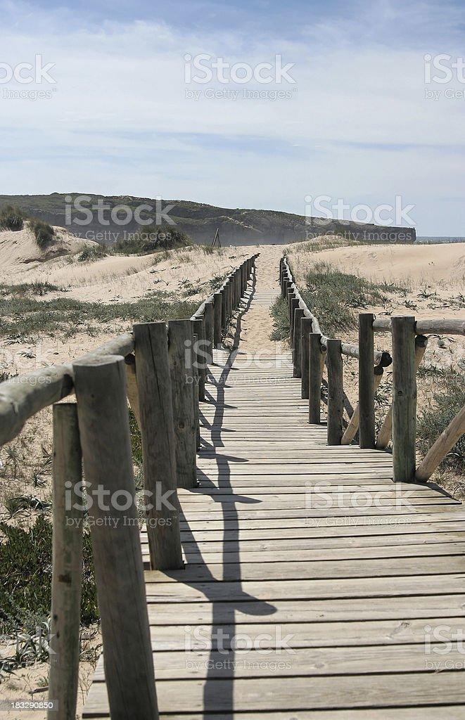 Footbridge to the dune royalty-free stock photo