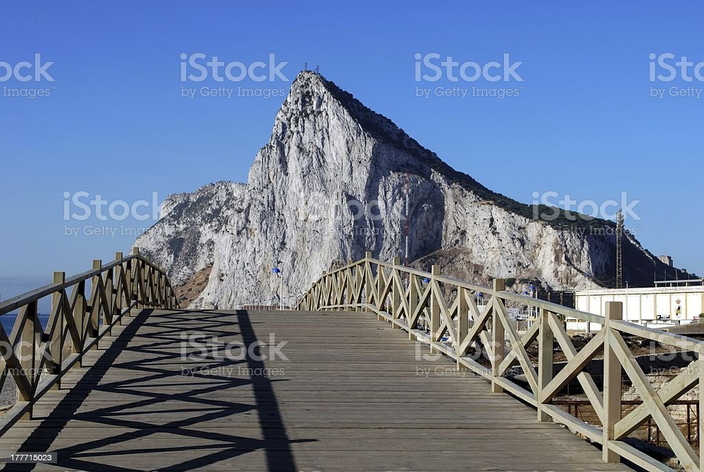 Footbridge with Rock of Gibraltar to rear. stock photo