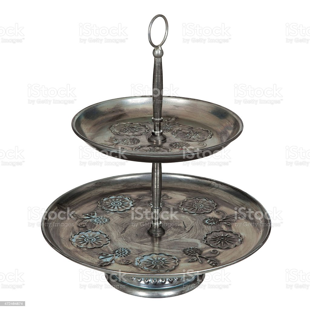 Footed platters stock photo
