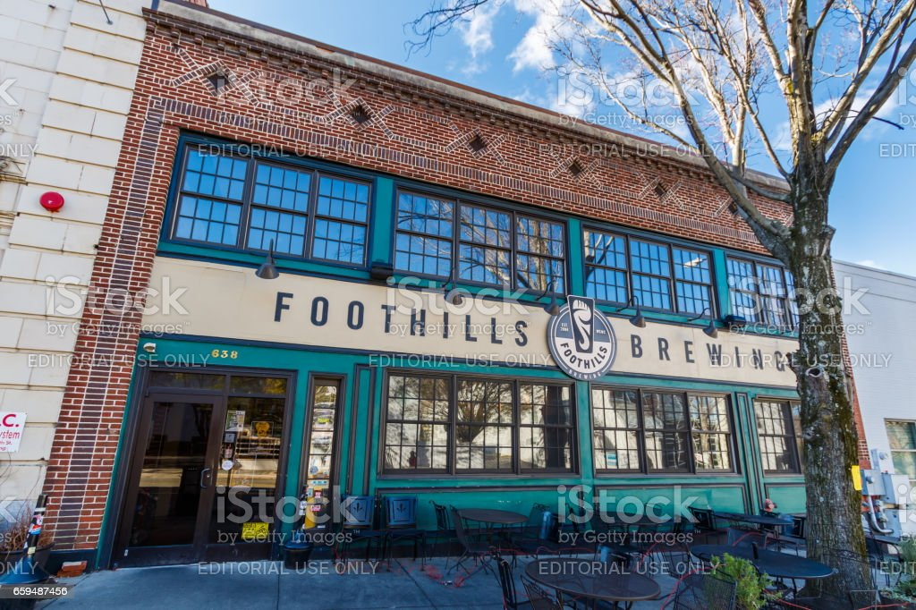 Foothills Brewery in Winston-Salem stock photo
