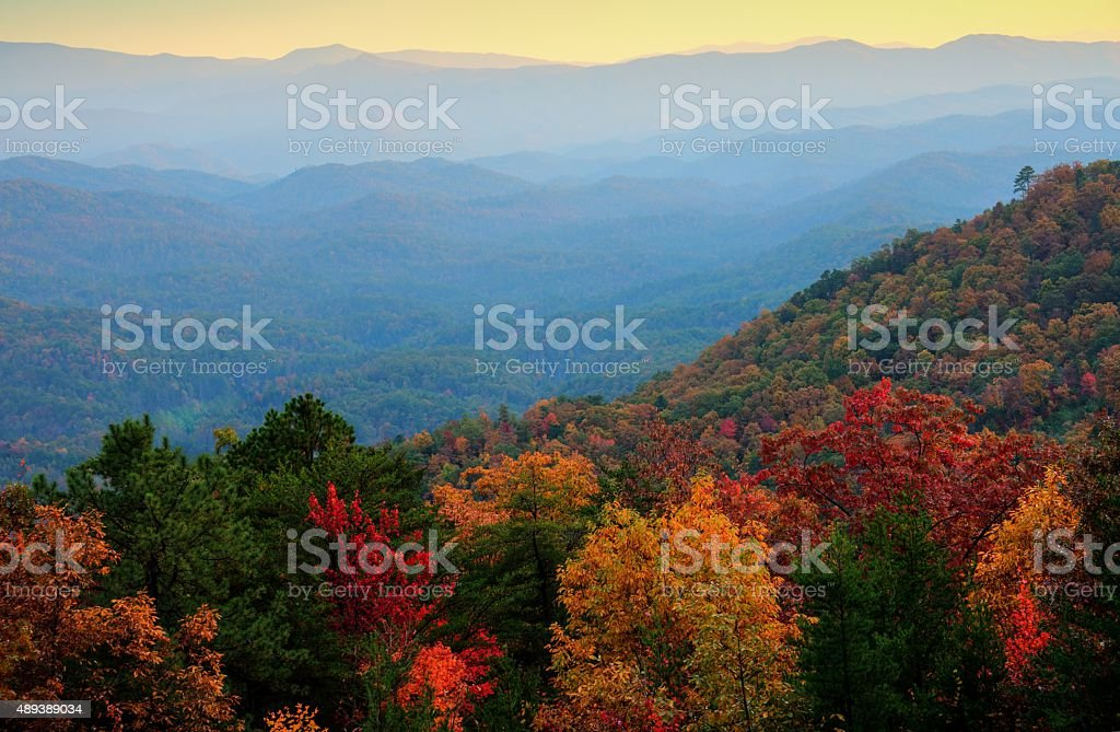 Foothills Parkway Overlook in Great Smoky Mountains National Park stock photo