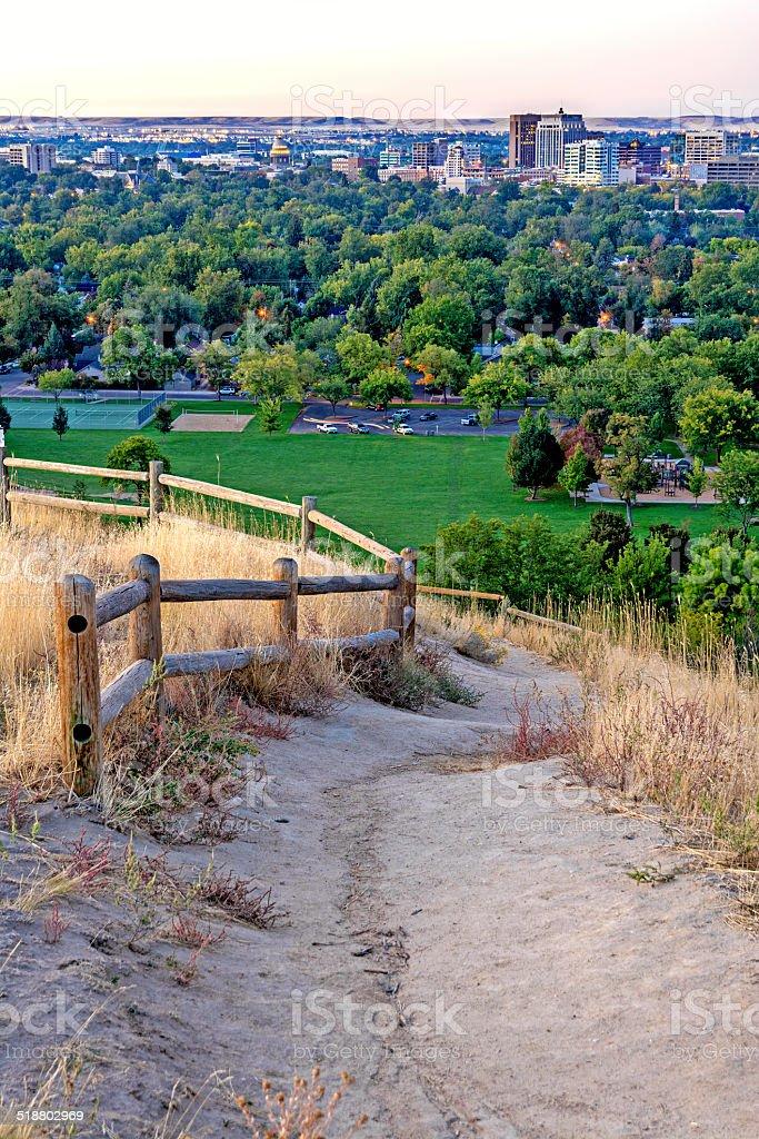 Foothills path and Boise Idaho stock photo