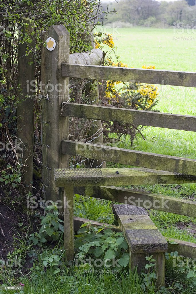 Footpath and stile, UK royalty-free stock photo