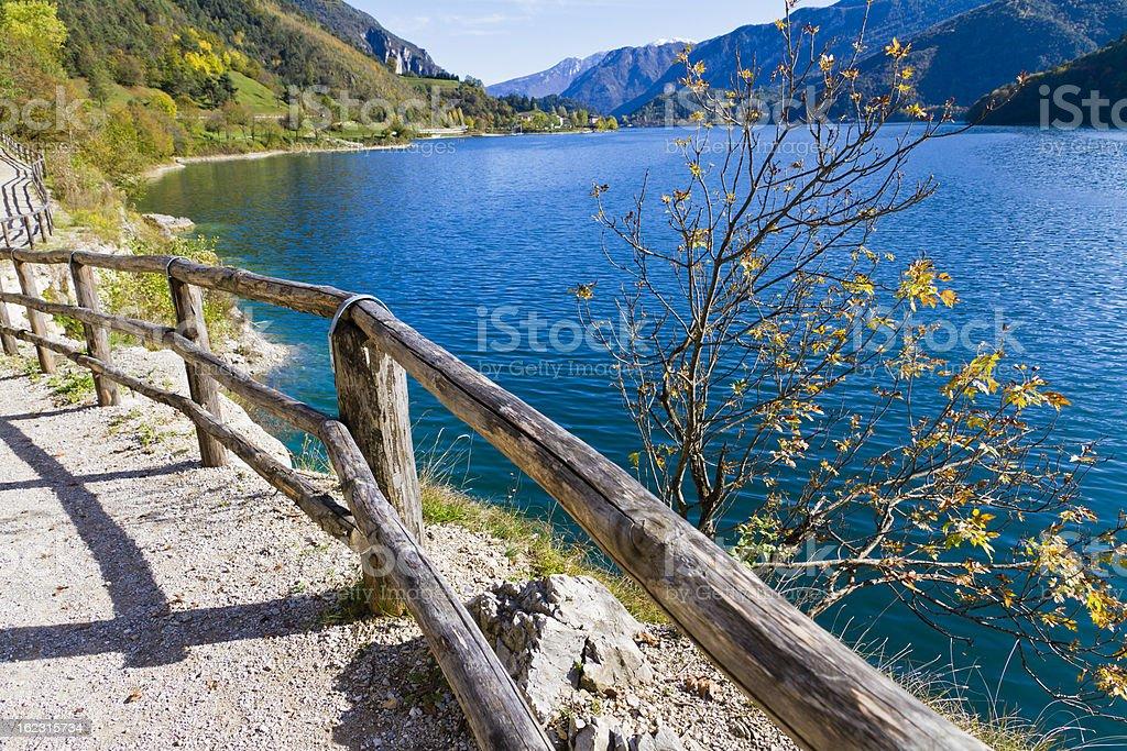 Footpath Around Lake Ledro, Italy stock photo